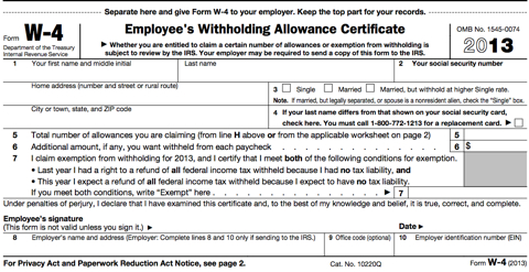 Form W-4 Tutorial